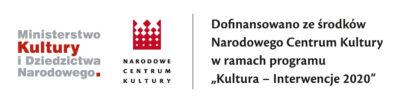"""Logo MKiDN iNCK. Napis """"Dofinansowano ześrodków Narodowego Centrum Kultury wramach programu >>Kultura – Interwencje 2020<<"""""""