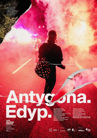 Plakat spektaklu Antygona. Edyp - postać tyłem na czerwonym tle z dymu i świateł z rac świetlnych