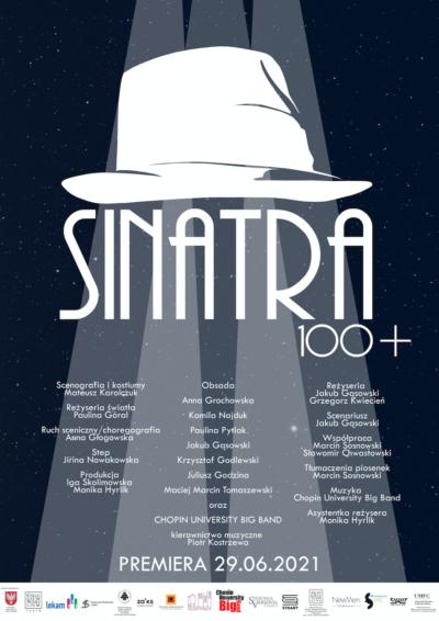 Plakat spektaklu. Grafika. Wsnopach świetlnych duży biały kapelusz, apodnim tytuł SINATRA 100+. Podspodem twórcy. Tło granatowe.