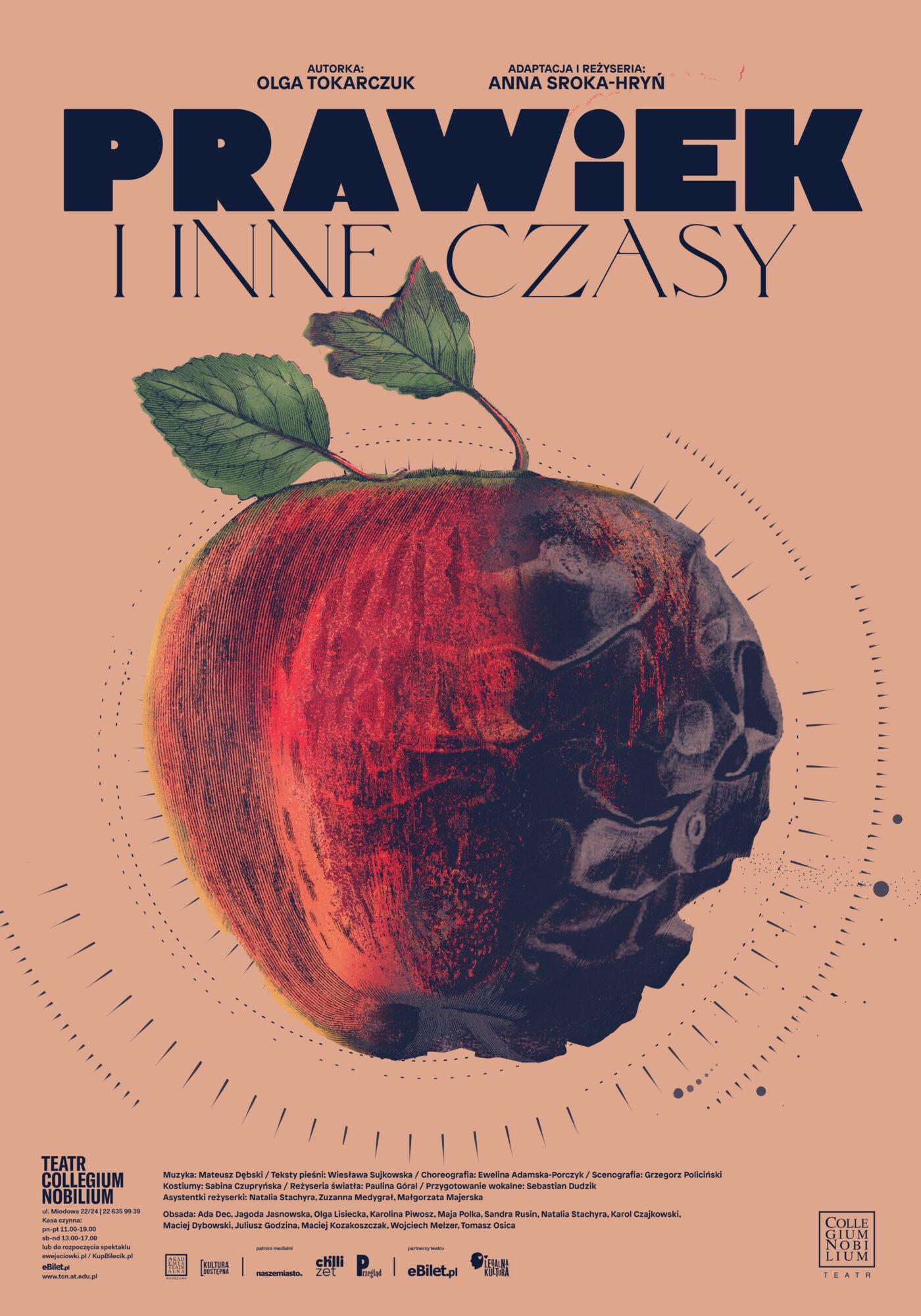 plakat spektaklu: na łososiowym tle czarny tytuł, a pod nim duże czerwone jabłko, z prawej strony wygląda jakby było nadpsute